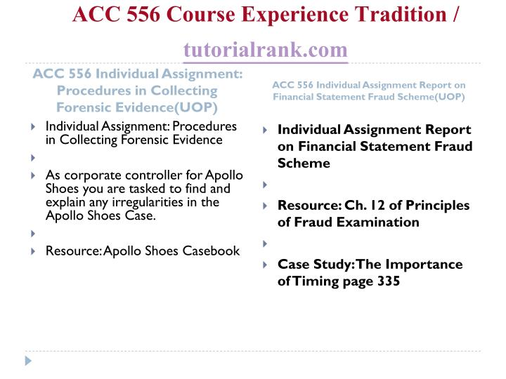Acc 556 course experience tradition tutorialrank com2