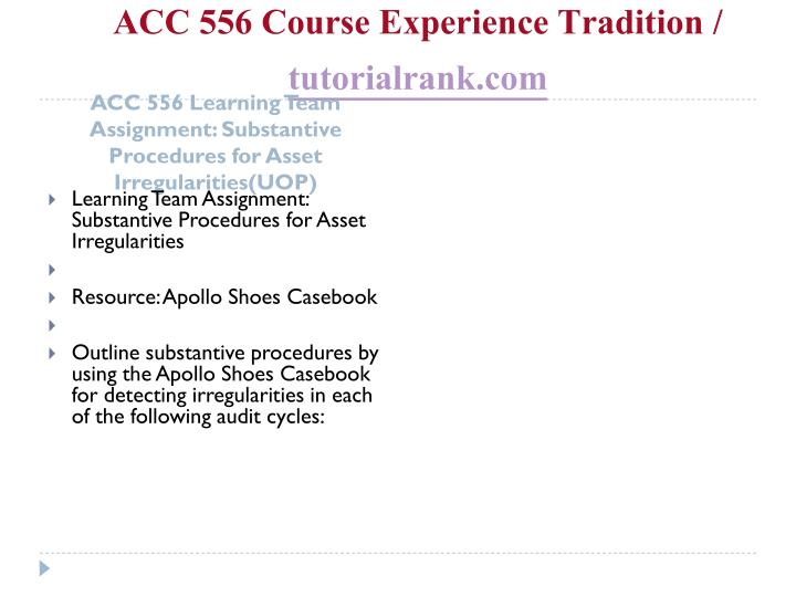 ACC 556 Course Experience Tradition /