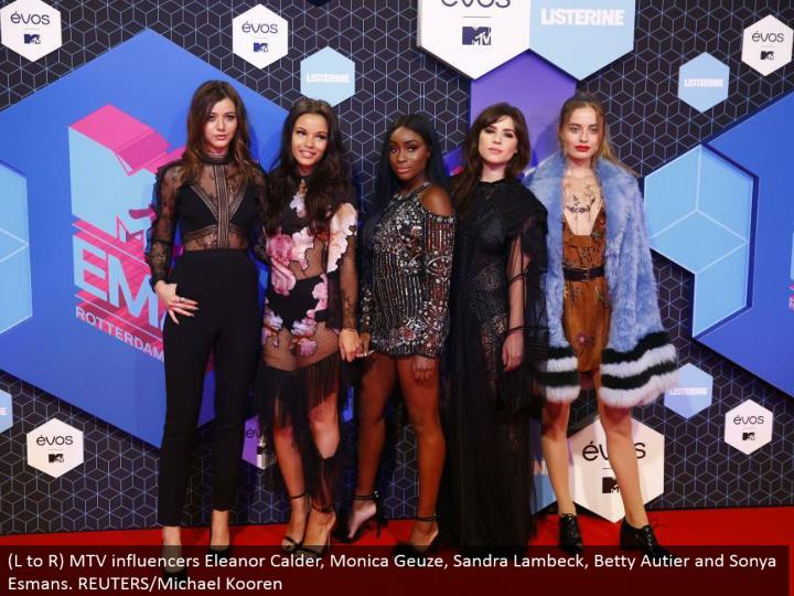 (L to R) MTV influencers Eleanor Calder, Monica Geuze, Sandra Lambeck, Betty Autier and Sonya Esmans. REUTERS/Michael Kooren