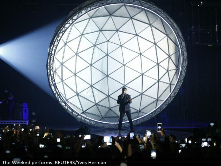 The Weeknd performs. REUTERS/Yves Herman