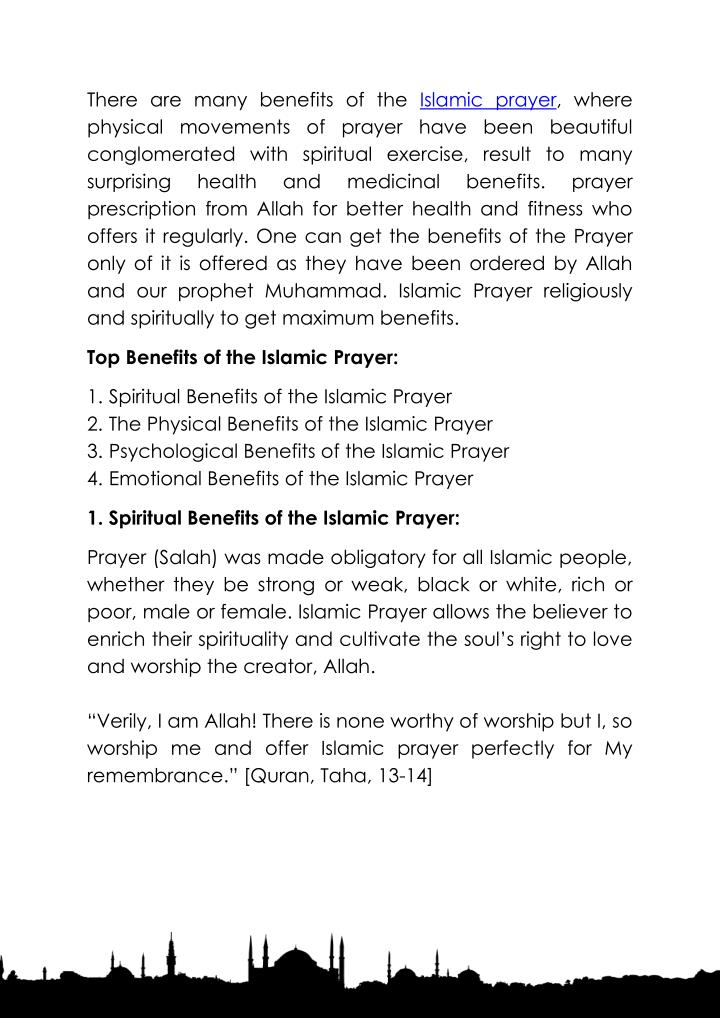 There are many benefits of the Islamic prayer, where