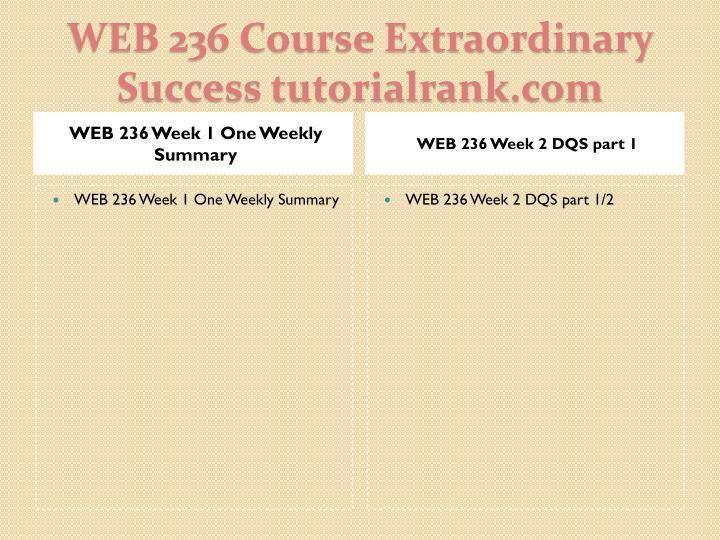 WEB 236 Week 1 One Weekly Summary