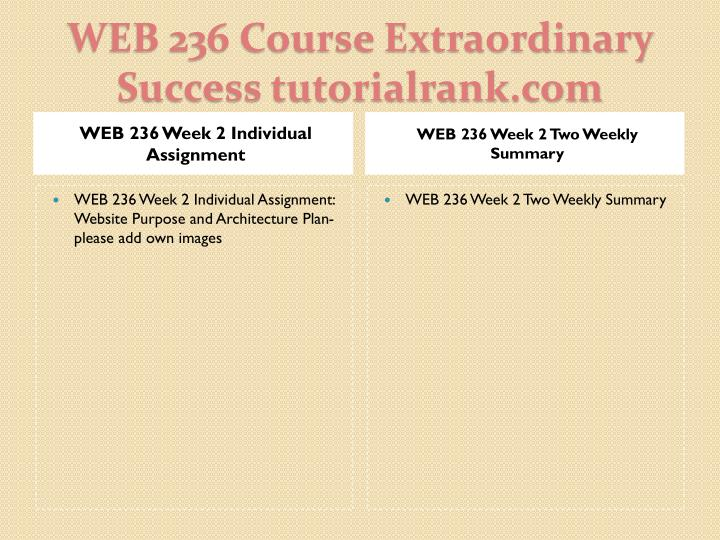 WEB 236 Week 2 Individual Assignment