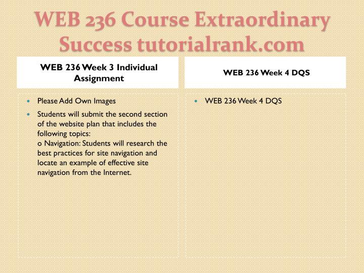 WEB 236 Week 3 Individual Assignment