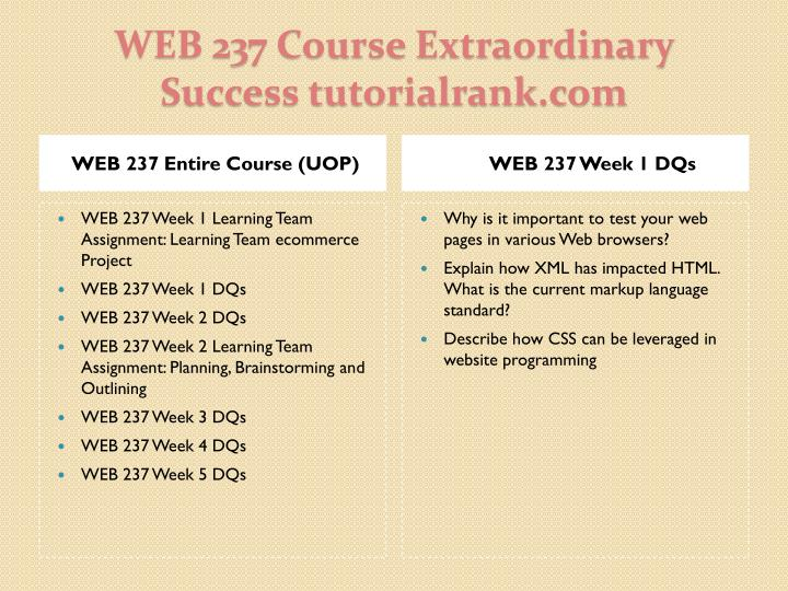 Web 237 course extraordinary success tutorialrank com1
