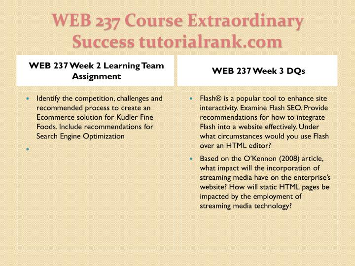 WEB 237 Week 2 Learning Team Assignment