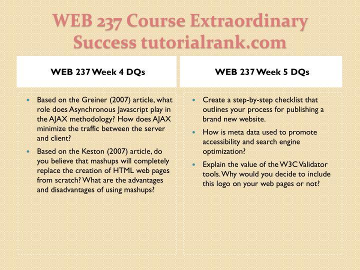WEB 237 Week 4 DQs