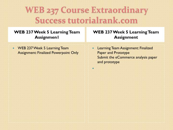 WEB 237 Week 5 Learning Team Assignmen1
