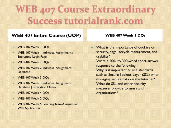 Web 407 course extraordinary success tutorialrank com1