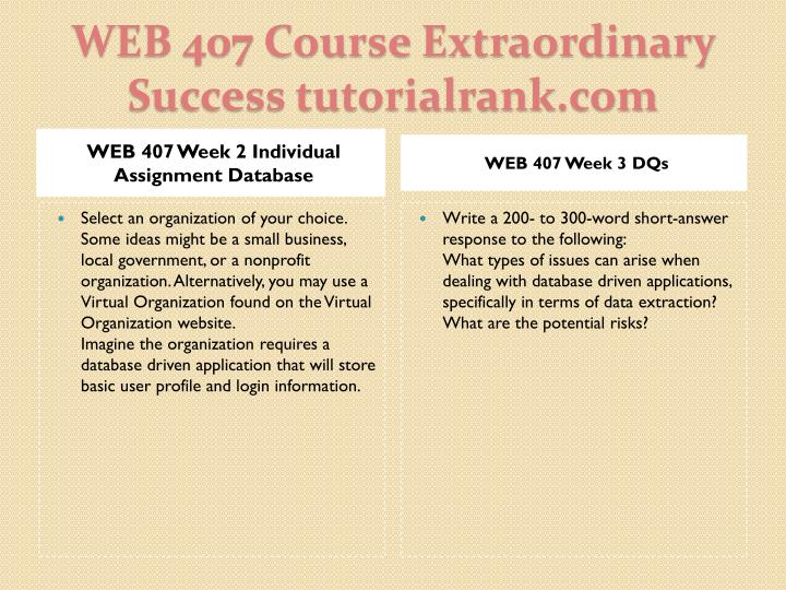 WEB 407 Week 2 Individual Assignment Database