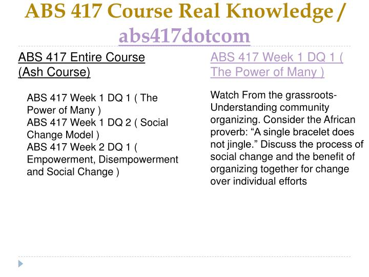 Abs 417 course real knowledge abs417dotcom1