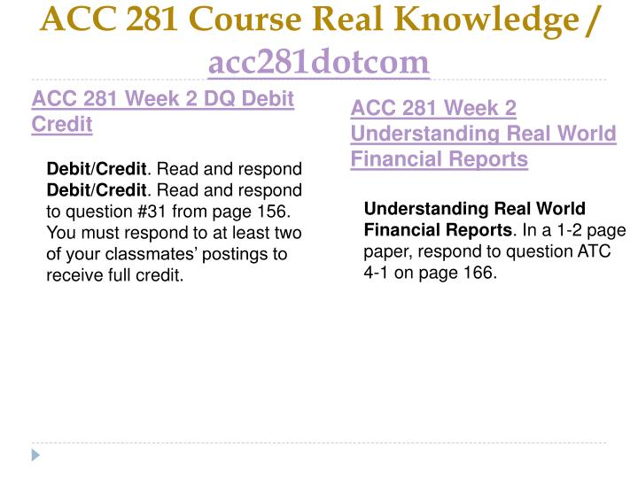 ACC 281 Course Real Knowledge /