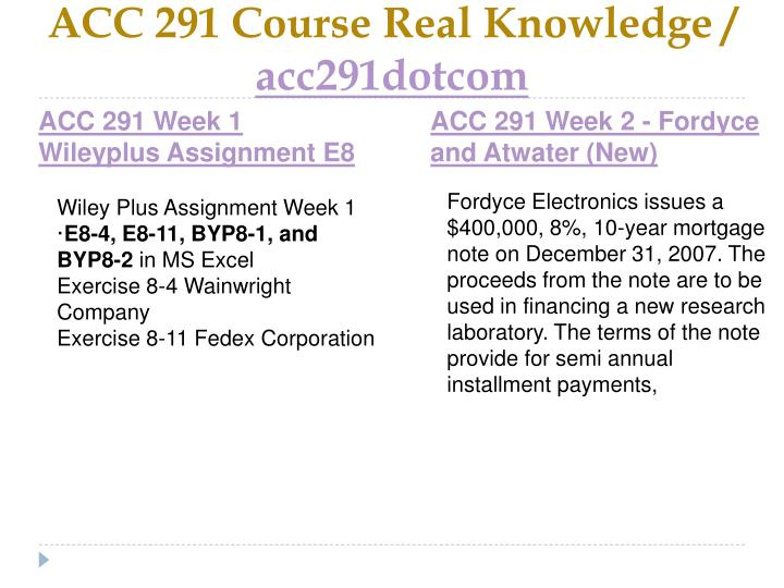 Acc 291 course real knowledge acc291dotcom2