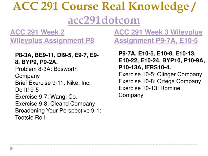 ACC 291 Course Real Knowledge /