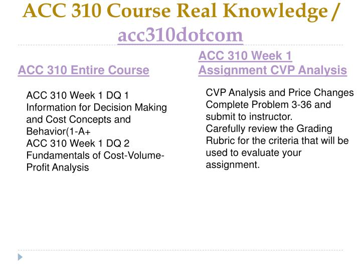 Acc 310 course real knowledge acc310dotcom1