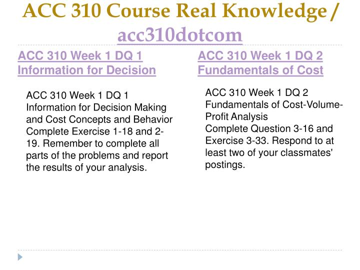 Acc 310 course real knowledge acc310dotcom2