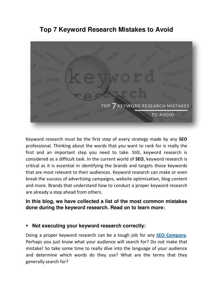 Top 7 Keyword Research Mistakes to Avoid