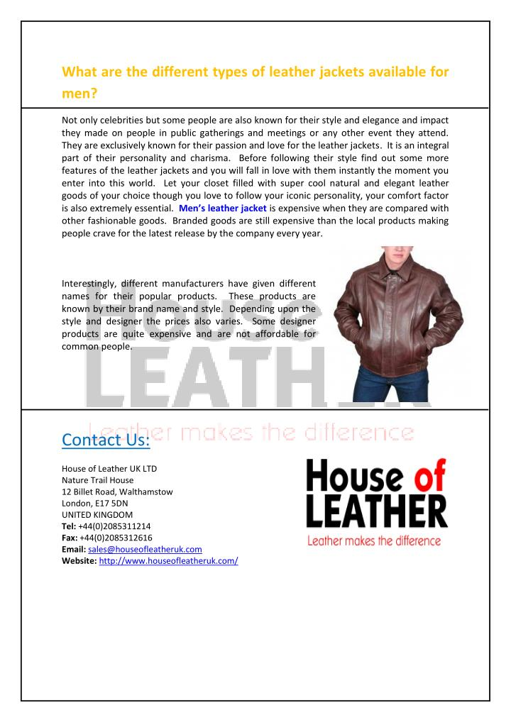 What are the different types of leather jackets available for