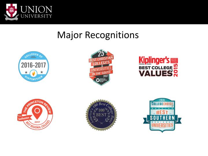 Major Recognitions