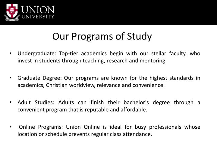 Our Programs of Study