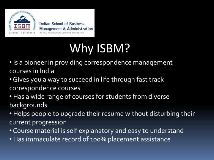 Why ISBM?