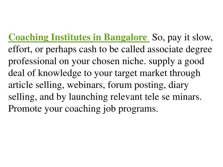 Coaching Institutes in Bangalore