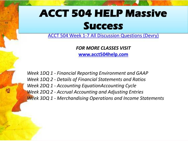ACCT 504 HELP Massive Success