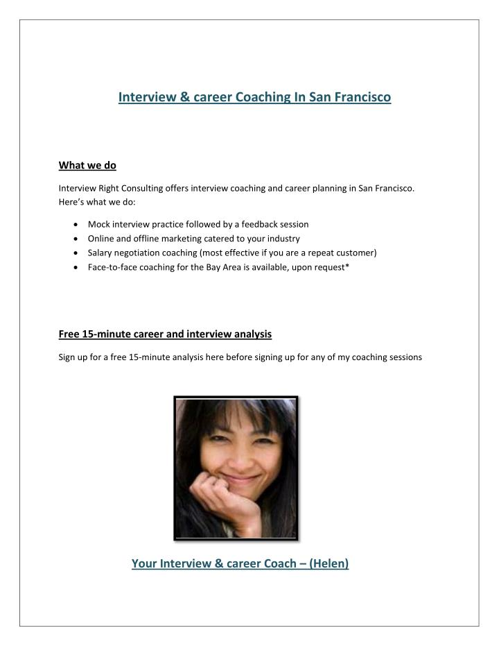 Interview & career Coaching In San Francisco