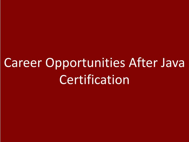 Career Opportunities After Java Certification