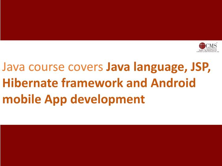 Java course covers