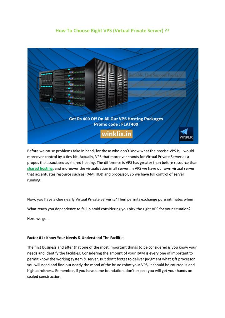 How To Choose Right VPS (Virtual Private Server) ??