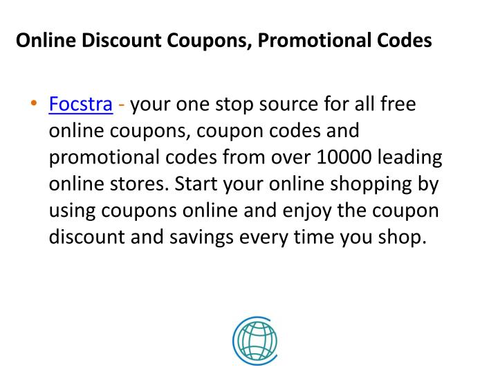 Online Discount Coupons, Promotional Codes