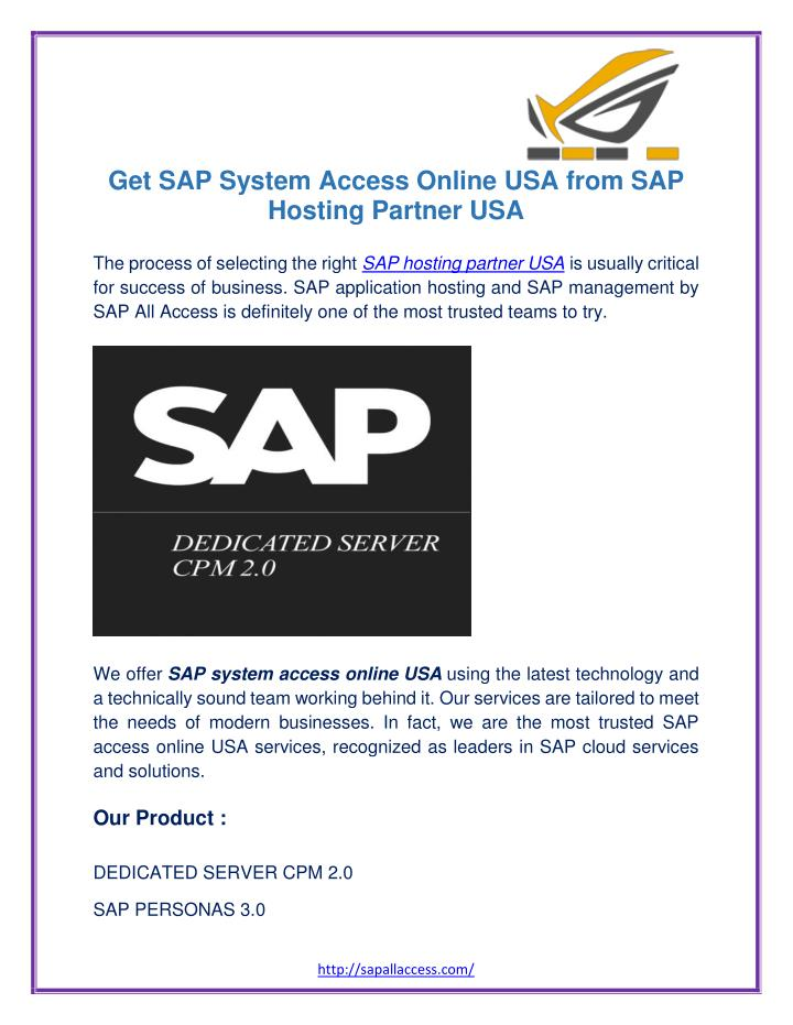 Get SAP System Access Online USA from SAP