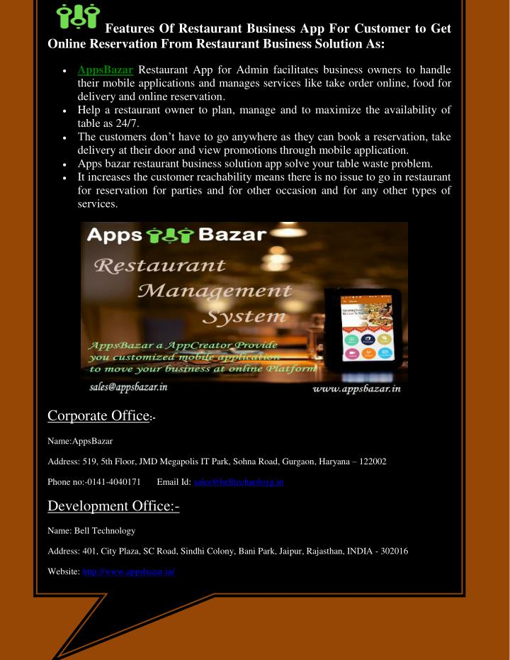 Features Of Restaurant Business App For Customer to Get