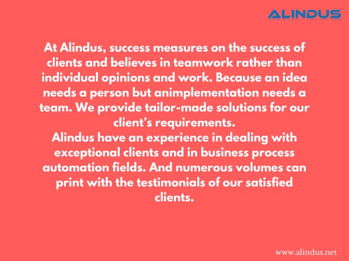 At Alindus, success measures on the success of