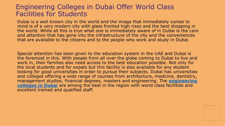 Engineering Colleges in Dubai Offer World Class Facilities for Students