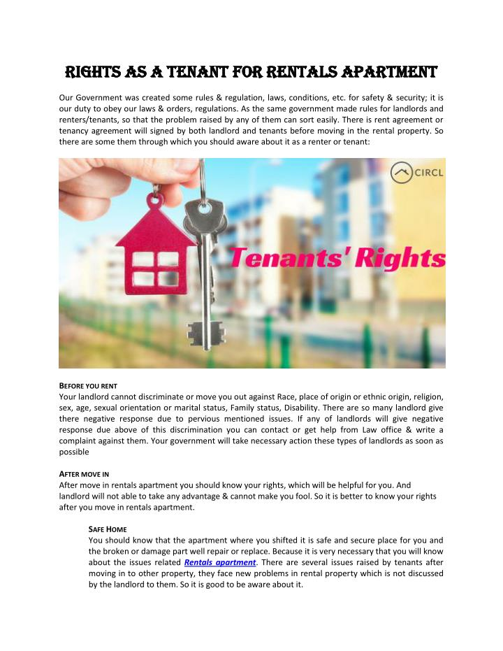 RIGHTS AS A TENANT