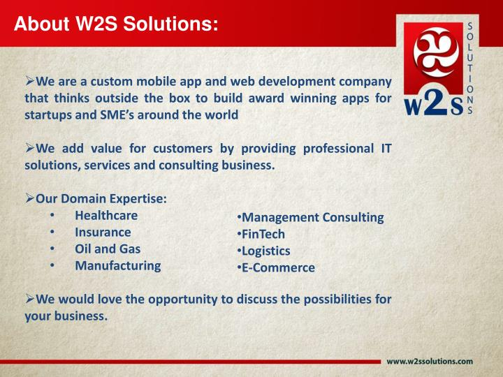 About W2S Solutions: