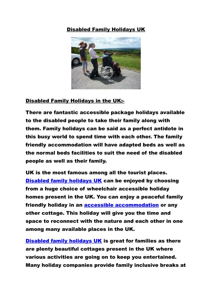 Disabled Family Holidays UK