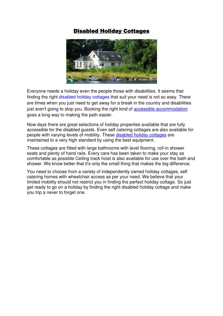 Disabled Holiday Cottages