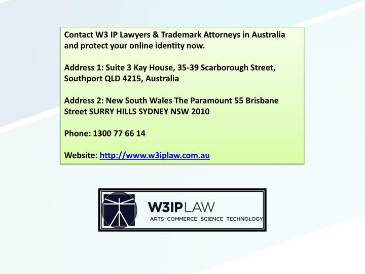 Contact W3 IP Lawyers & Trademark Attorneys in Australia