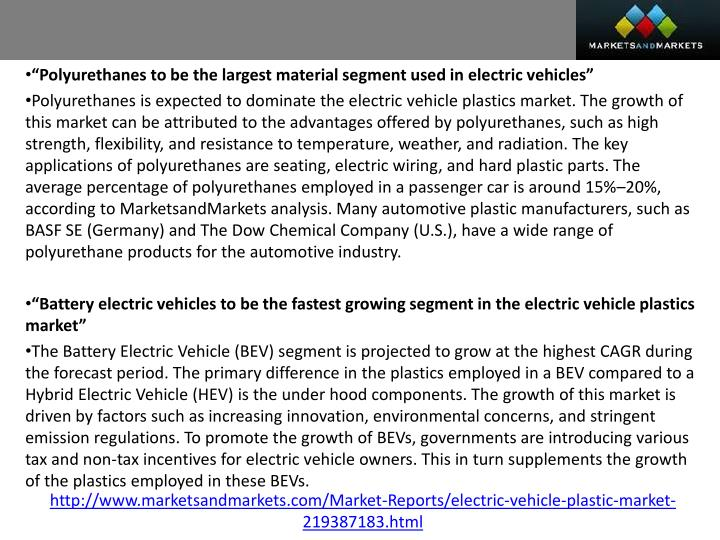 """Polyurethanes to be the largest material segment used in electric vehicles"""