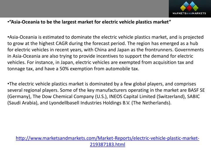 """Asia-Oceania to be the largest market for electric vehicle plastics market"""