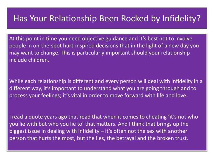 Has Your Relationship Been Rocked by Infidelity?