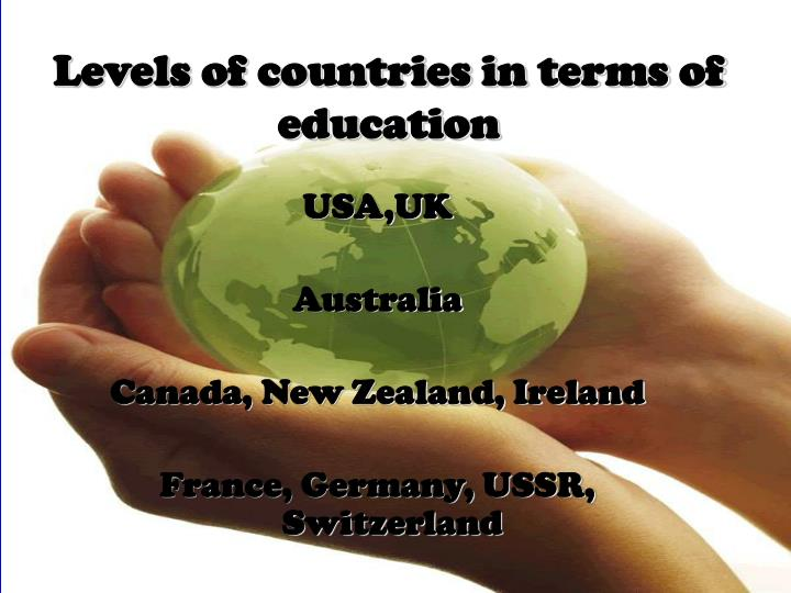 Levels of countries in terms of education