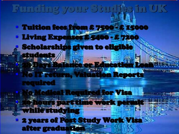 Funding your Studies in UK