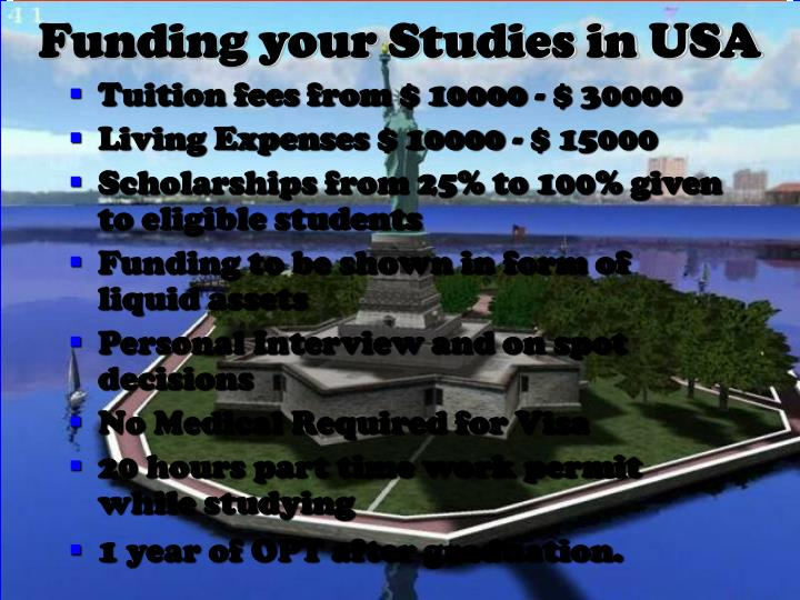 Funding your Studies in USA