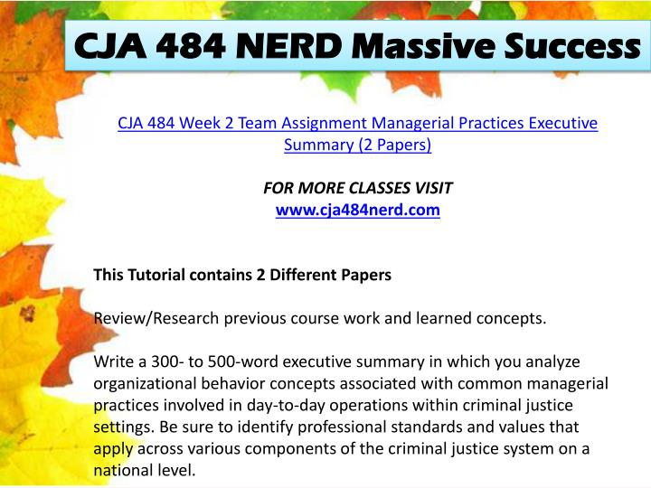 CJA 484 NERD Massive Success