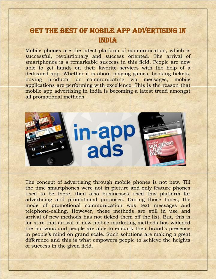 Get the best of mobile app advertising in