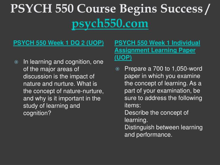 Psych 550 course begins success psych550 com2